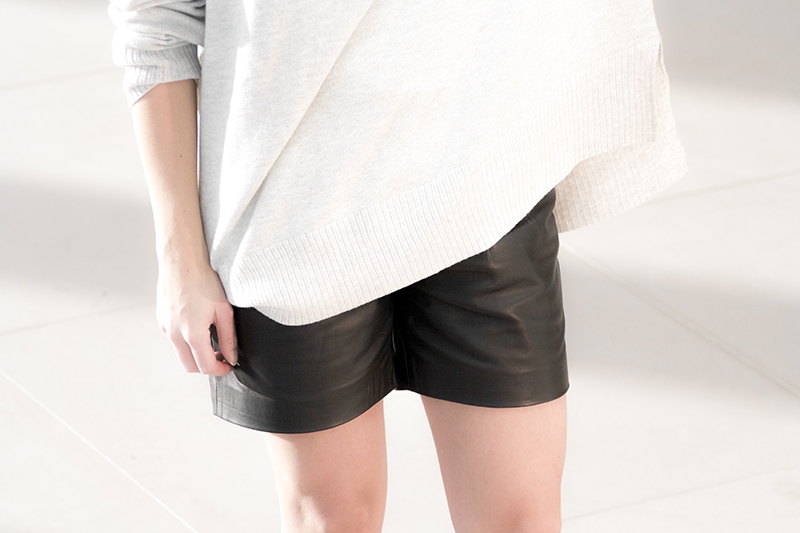 blessed are the meek leather shorts h&m oversized sweater