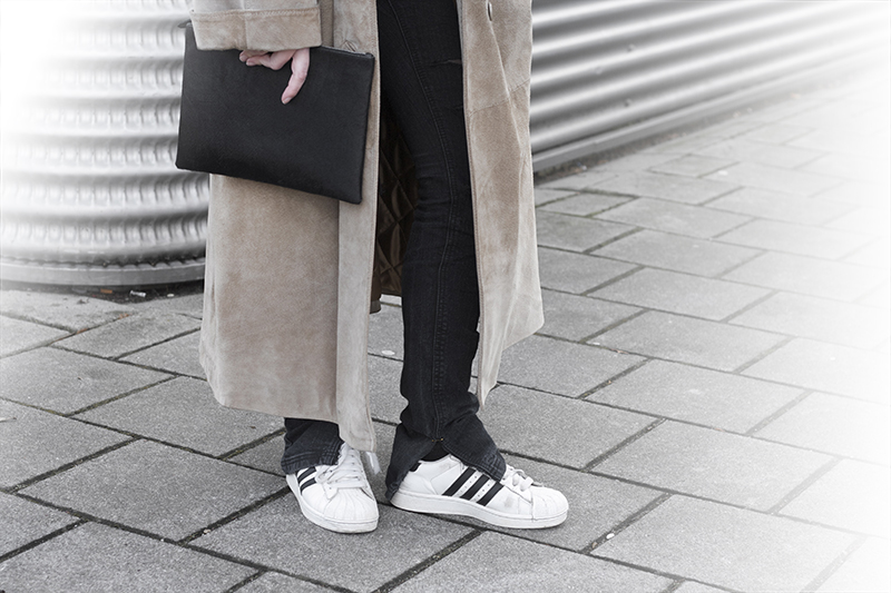 adidas superstar suede coat raku clutch