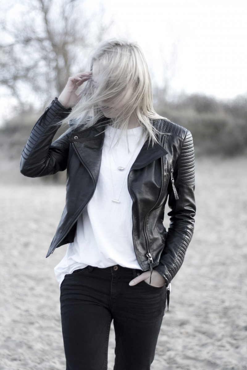 lookbook store leather jacket black and white outfit