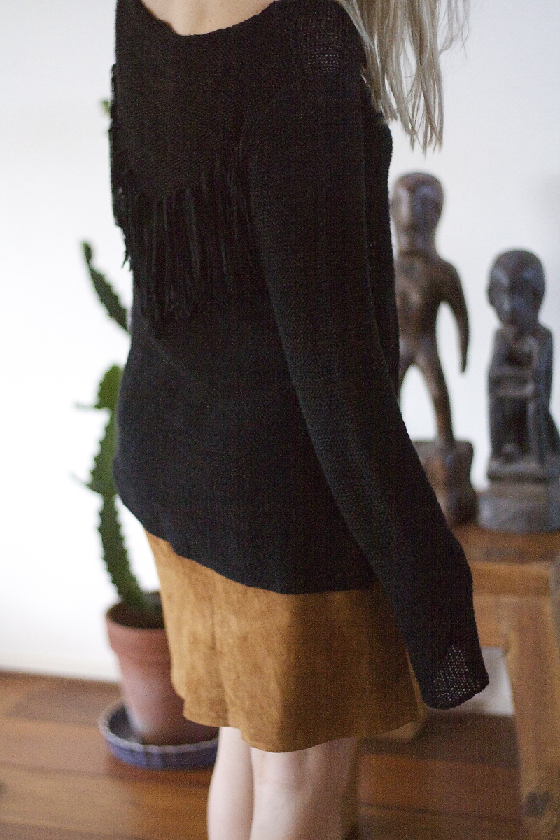 suede leather skirt fringe sweater Tao of Sophia