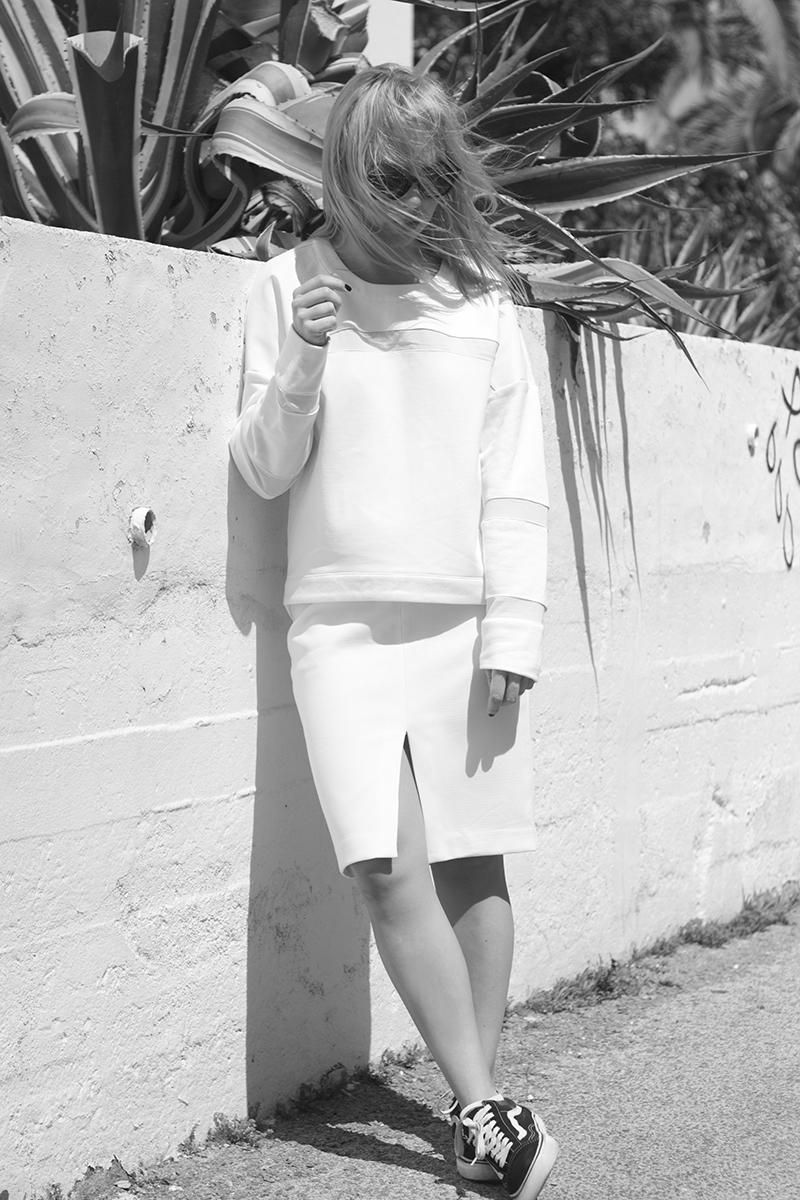 all white outfit split midi skirt august street sweater