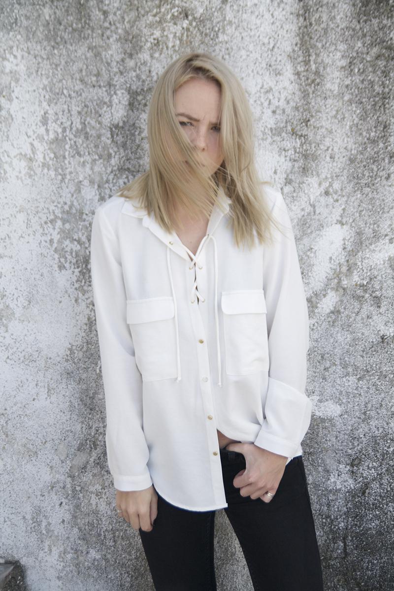 safari shirt lace up zara minimal bohemian 70s look