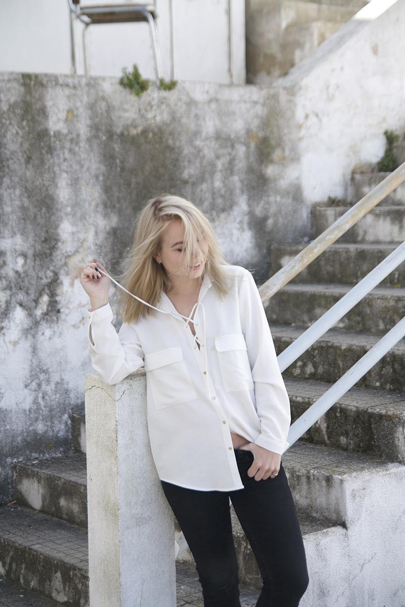 white shirt lace up zara 70s minimal fashion