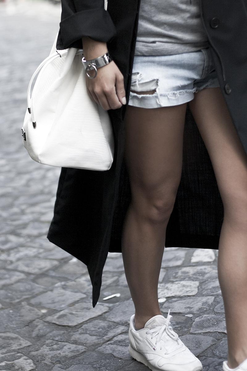 white bucket bag distressed shorts long line dust coat