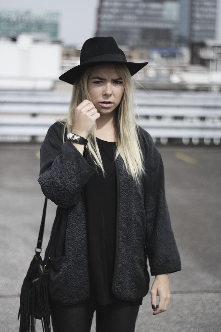 fedora hat rock bohemian style fringe shoulder bag