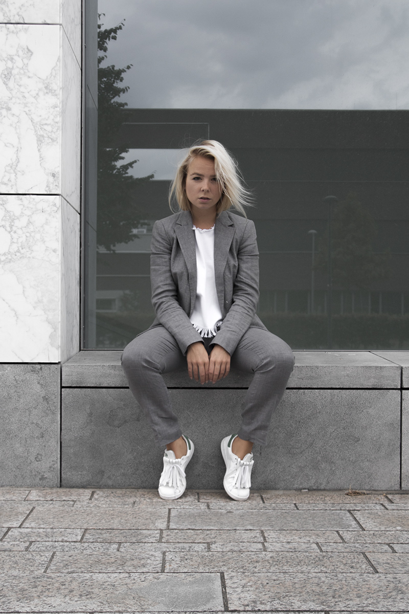 linen grey suit stan smith fringes pinned by k minimal fashion
