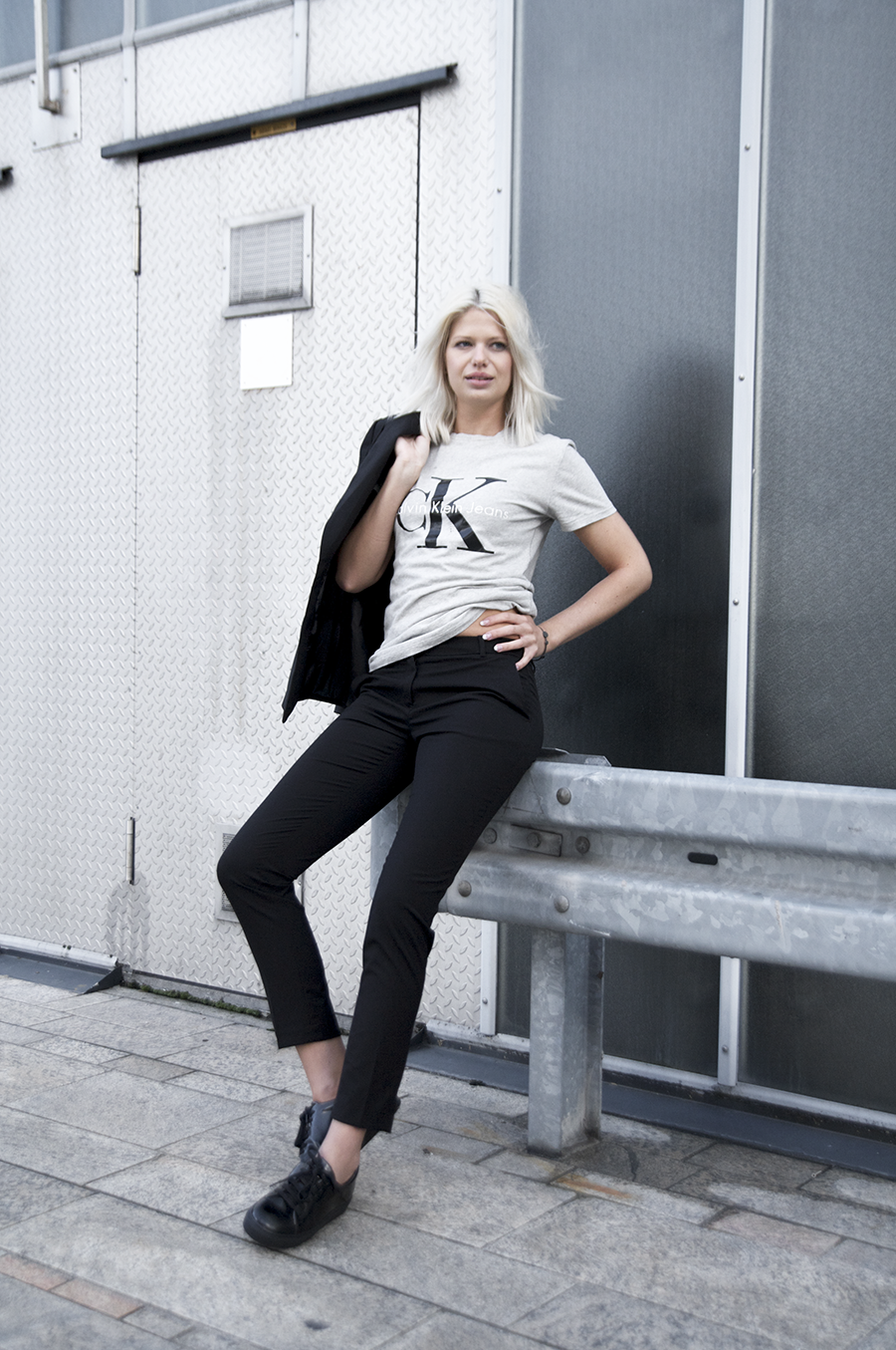 calvin klein tee black suit iceblond hair Sophia Molen photography