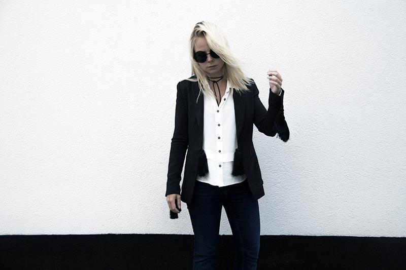 oversized round sunglasses lavish alice blazer black tassel boho rocknroll look