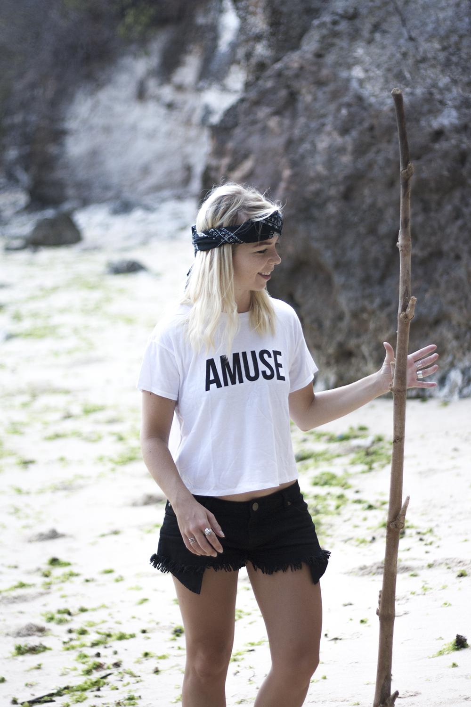 amuse society tee amarilo triangle ring ripped black shorts padang padang beach
