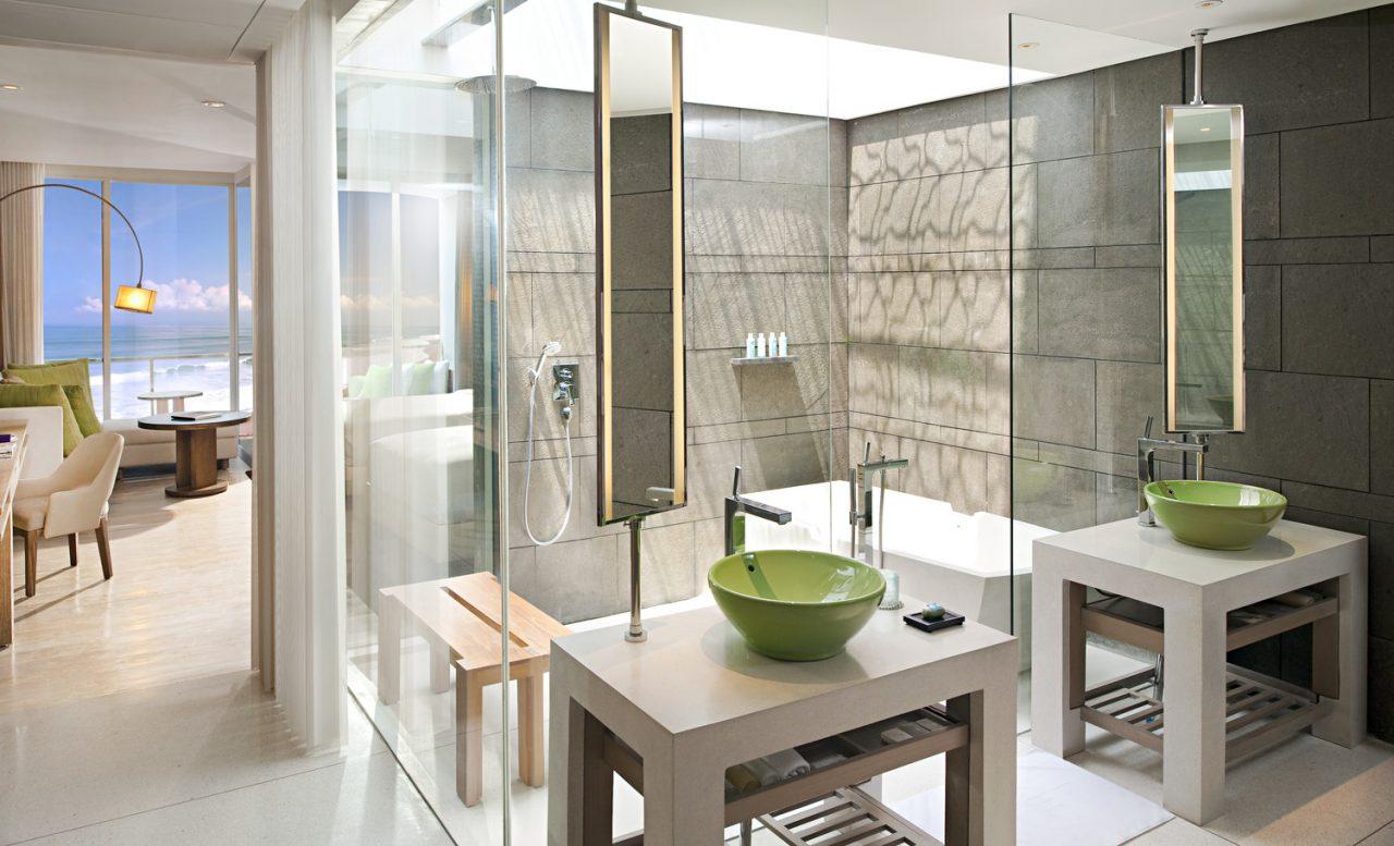 w bali hotel open glass bathroom interior