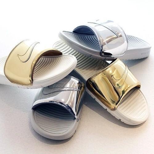 470c8159ecdf Nike Benassi Slides Liquid Metal - Blog and The City