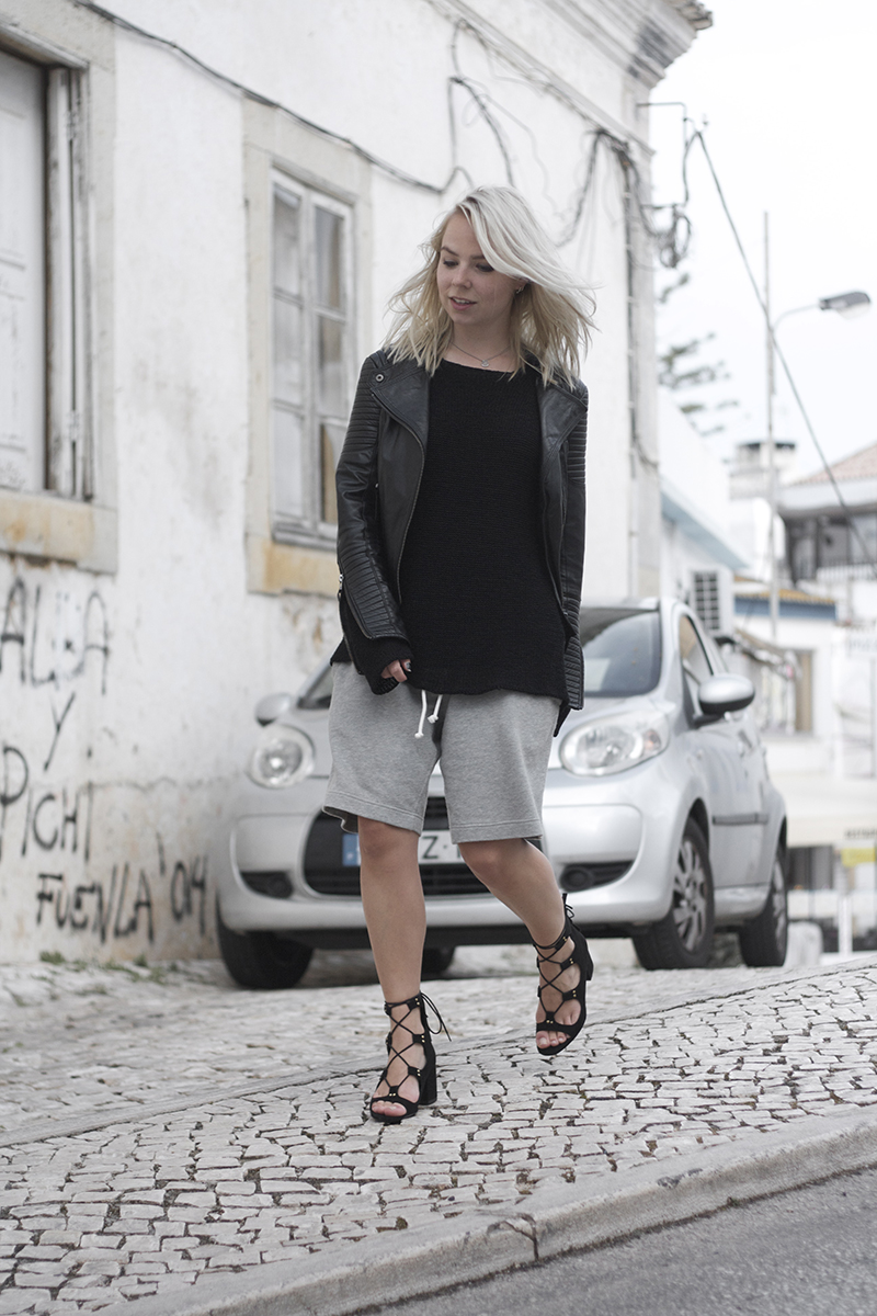 34f5bfe2a49 zara laceup block heeled sandals boyfriend shorts lookbook store leather  jacket outfit ...